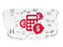 Business concept: Calculator on Torn Paper. Business concept: Painted red Calculator icon on Torn Paper background with Scheme Of Hand Drawn Business Icons, 3d Royalty Free Stock Image