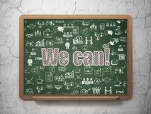 Business concept: We can! on School board background. Business concept: Chalk Pink text We can! on School board background with  Hand Drawn Business Icons, 3D Royalty Free Stock Photos