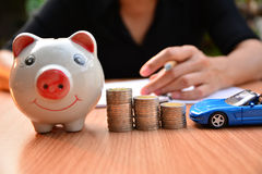 Business concept car insurance or sell and  buy car, car financi. Ng, piggy bank Stock Photography