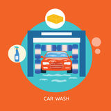 Business concept car wash best clean non stop auto Royalty Free Stock Image