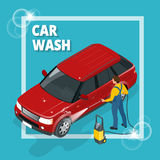 Business concept car wash. Car wash, auto cleaner, washer shower service banner. Flat 3d vector isometric illustration. Royalty Free Stock Photography