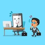 Business concept cartoon business boss see a smartphone that work like a human Stock Photos