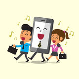 Business concept cartoon business team and smartphone walking and singing together Stock Photo