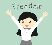 Business concept, Cartoon business woman feeling happy with her freedom. Vector illustration. Stock Photo