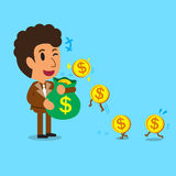 Business concept cartoon businessman earning money Royalty Free Stock Photos