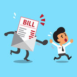 Business concept cartoon businessman escaping from bill payment. For design Stock Images