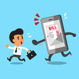 Business concept cartoon businessman escaping from smartphone and electronic bill payment. For design Royalty Free Stock Photography