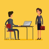 Business concept. Cartoon businessman and woman Royalty Free Stock Photo