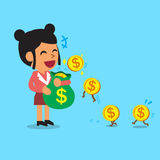 Business concept cartoon businesswoman earning money Royalty Free Stock Image