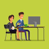 Business concept. Cartoon man and woman Royalty Free Stock Photography
