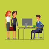 Business concept. Cartoon man and woman Stock Image