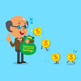 Business concept cartoon old man earning money Stock Photo