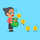 Business concept cartoon old woman earning money Royalty Free Stock Image