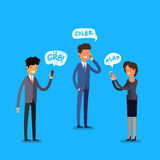 Business concept. Cartoon people. Business concept. Cartoon business people with mobile phones. Modern lifestyle. Flat design, vector illustration Stock Image