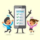 Business concept cartoon smartphone and business team completed their jobs Stock Photography