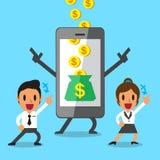 Business concept cartoon smartphone help business team to earn money Stock Photos