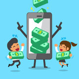 Business concept cartoon smartphone help business team to earn money stacks Royalty Free Stock Photography