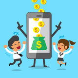 Business concept cartoon smartphone help businessman and businesswoman to earn money Royalty Free Stock Photography