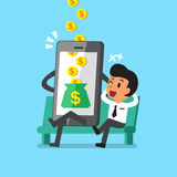 Business concept cartoon smartphone help businessman to earn money Royalty Free Stock Image