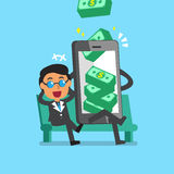 Business concept cartoon smartphone help businessman to earn money stack Stock Photography