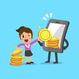 Business concept cartoon smartphone help businesswoman to earn money Royalty Free Stock Photography