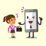 Business Concept Cartoon Smartphone Help Businesswoman to Work Royalty Free Stock Photography
