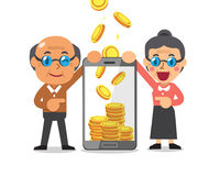 Business concept cartoon smartphone help senior people to earn money Stock Images
