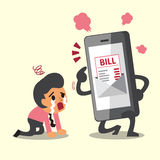 Business concept cartoon smartphone show electronic bill payment to businessman. For design Stock Image