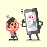 Business concept cartoon smartphone show electronic bill payment to businessman Stock Image