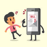 Business concept cartoon smartphone show electronic bill payment to a man Stock Photography