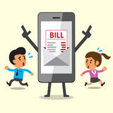 Business concept cartoon smartphone show electronic bill payment to people. For design Stock Photography