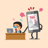 Business concept cartoon smartphone show tax letter to business man. For design Stock Photos