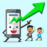 Business Concept cartoon smartphone take More profits with business team Stock Photos