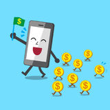 Business concept cartoon smartphone walk with money coins Royalty Free Stock Image