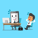 Business concept cartoon smartphone working and relax businessman sit on a chair. For design Stock Photography
