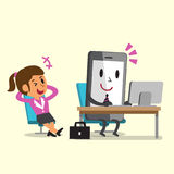 Business concept cartoon smartphone working and relax businesswoman sit on a chair. For design Stock Photos