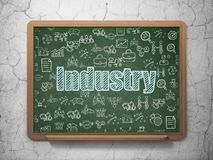 Business concept: Industry on School board background. Business concept: Chalk Blue text Industry on School board background with  Hand Drawn Business Icons, 3D Royalty Free Stock Photos