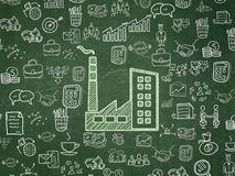 Business concept: Industry Building on School board background. Business concept: Chalk Green Industry Building icon on School board background with  Hand Drawn Royalty Free Stock Image