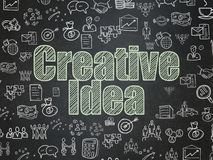 Business concept: Creative Idea on School board background. Business concept: Chalk Green text Creative Idea on School board background with  Hand Drawn Business Royalty Free Stock Photography