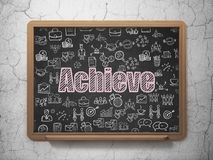Business concept: Achieve on School board background. Business concept: Chalk Pink text Achieve on School board background with  Hand Drawn Business Icons, 3D Royalty Free Stock Images