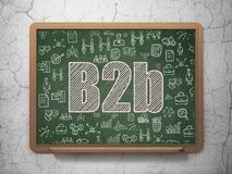 Business concept: B2b on School board background. Business concept: Chalk Pink text B2b on School board background with  Hand Drawn Business Icons, 3D Rendering Stock Photos