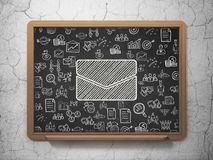 Business concept: Email on School board background. Business concept: Chalk White Email icon on School board background with  Hand Drawn Business Icons, 3D Royalty Free Stock Image