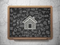 Business concept: Home on School board background. Business concept: Chalk White Home icon on School board background with  Hand Drawn Business Icons, 3D Stock Images