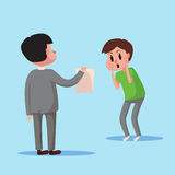 Business concept character show electronic bill payment to a man. Funny cartoon  illustration Royalty Free Stock Photo