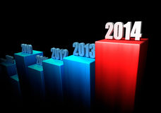 Business Concept 2014. Chart of growth year after year on black background. 2014 as an end. 3d render Royalty Free Stock Photos
