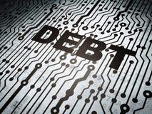 Business concept: circuit board with Debt. Business concept: circuit board with  word Debt, 3d render Stock Photos