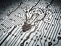 Business concept: circuit board with Light Bulb Royalty Free Stock Photos