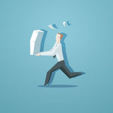 Business concept - clerk running with documents. EPS 10 file Stock Photo