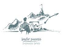 Business concept climbed top mountain vector drawn Royalty Free Stock Photos