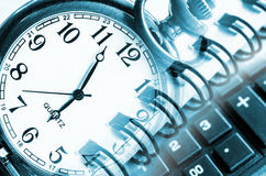 Business concept with clock. Business concept with clock, calculator and documents Stock Images